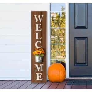 42 in. H Wooden Welcome Porch Sign with Metal Planter