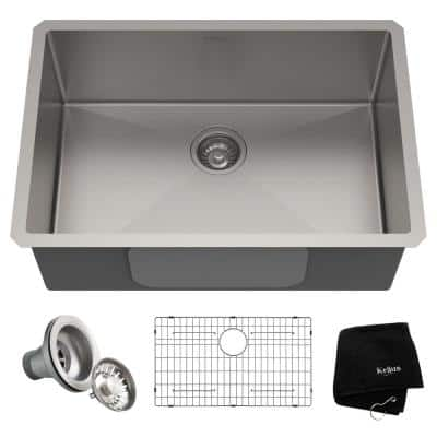 Standart PRO Undermount Stainless Steel 28 in. Single Bowl Kitchen Sink