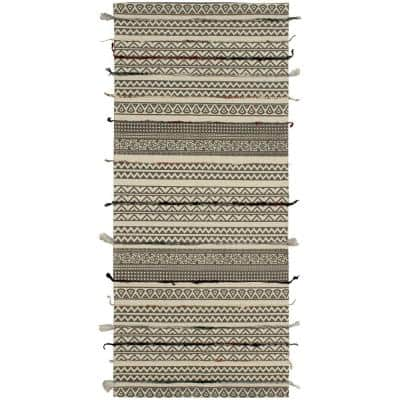 Deja Bohemian Beige/Grey 2 ft. x 5 ft. Tribal Accent Runner Rug