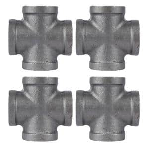 3/4 in. Black Iron FPT x FPT x FPT x FPT Cross Fitting (4-Pack)