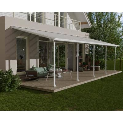 Feria 10 ft. x 30 ft. White Patio Cover Awning