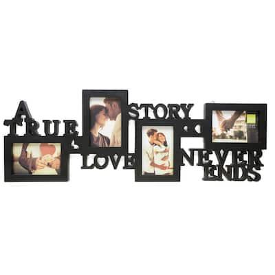 "Collage Frame - True Love, Holds 4 - 4""x6"" Photos, Black"