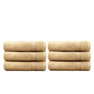 6-Piece Beige Geometric 100% Cotton Hand Towel Set