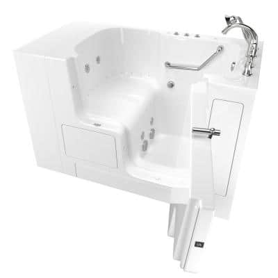 Gelcoat Value Series 52 in. x 32 in. Right Hand Walk-In Whirlpool and Air Bathtub with Outward Opening Door in White