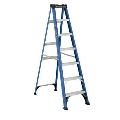7 ft. Fiberglass Step Ladder has a 11 ft. Reach with 225 lbs. Load Capacity Type II Duty Rating