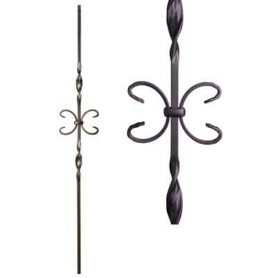Satin Black 16.1.10 Single Butterfly Solid Iron Baluster for Staircase Remodel