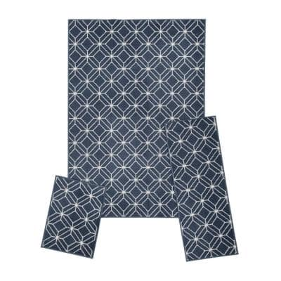 Capri Blue 5 ft. x 7 ft. Zara 3-Piece Rug Set