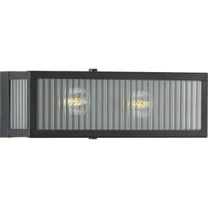 Dwyer Collection 2-Light Matte Black Clear Ribbed Glass Farmhouse Bath Vanity Light