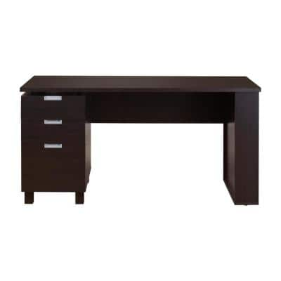 59 in. Rectangular Espresso 3 Drawer Writing Desk with Built-In Storage