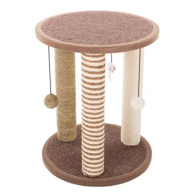 Tan and Cream 3 Pole Cat Scratching Post with Perch