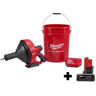 M12 12-Volt Lithium-Ion Cordless Auger Snake Drain Cleaning Kit with 6.0Ah Battery