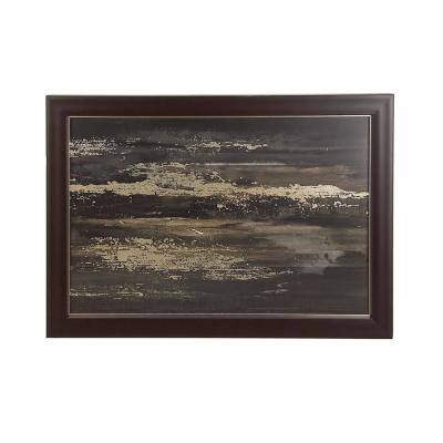 """29 in. x 41 in. """"Sea Waves"""" Hand Painted Framed Canvas Wall Art"""