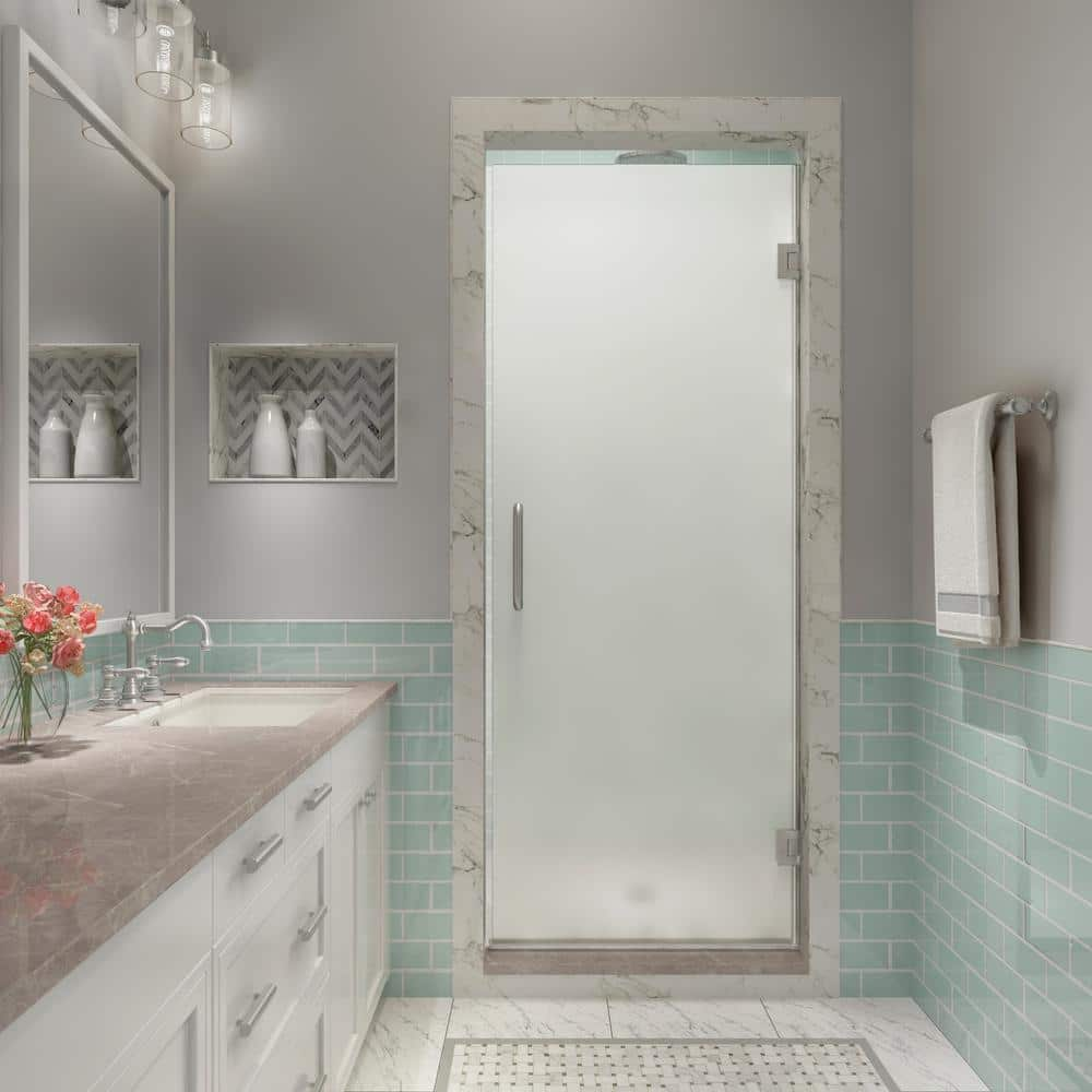 Aston Kinkade Xl 23 75 In 24 25 In X 80 In Frameless Hinged Shower Door With Ultrabright Frosted Glass In Stainless Steel Sdr997fruw Ss 2480 The Home Depot