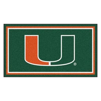 NCAA University of Miami 3 ft. x 5 ft. Ultra Plush Area Rug