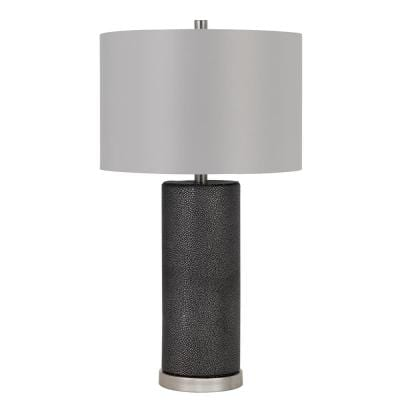 Graham 27 in. Matte Black Ceramic Indoor Table Lamp with Shade
