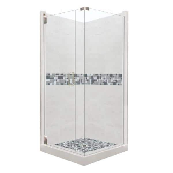 American Bath Factory Newport Grand Hinged 38 In X 38 In X 80 In Left Hand Corner Shower Kit In Natural Buff And Satin Nickel Hardware Cgh 3838nn Rt Sn The Home Depot