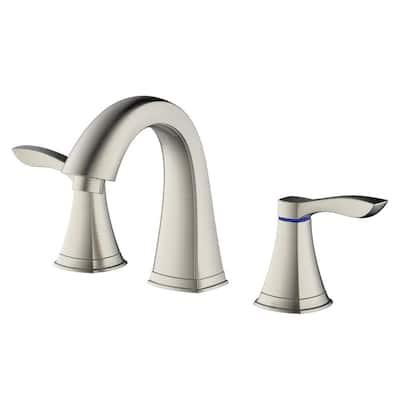 Moonstone 8 in. Widespread 2-Handle Hi Arc Bathroom Faucet with Pop-Up Drain in Brushed Nickel