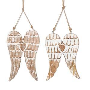 Mango Wood Hanging Wings Wall Art (Set of 2)