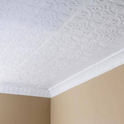 White Metal Ceiling Tiles Ceilings The Home Depot