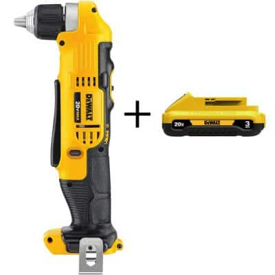 20-Volt MAX Cordless 3/8 in. Right Angle Drill/Driver with (1) 20-Volt 3.0Ah Battery