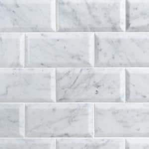 White Carrara Beveled 3 in. x 6 in. x 9mm Polished Marble Subway Tile (40 pieces / 5 sq. ft. / box)