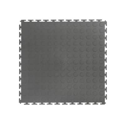 Gray Raised Coin 18 in. x 18 in. x 3.1 mm Rubber Interlocking Modular Flooring Tiles, 6-Pack (13.5 sq. ft.)