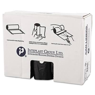 Interleaved High-Density Trash Can Liners, 60 Gallon, 38 x 60, 22mic, Black, 150/Carton