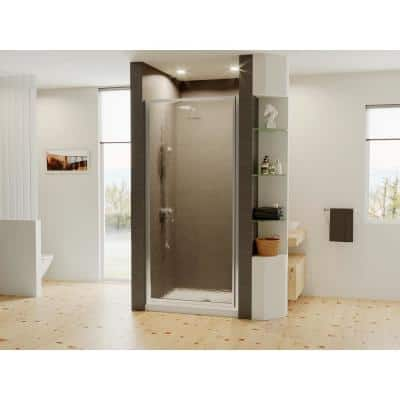 Legend 22.625 in. to 23.625 in. x 64 in. Framed Hinged Shower Door in Chrome with Obscure Glass
