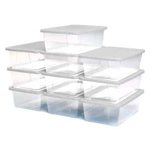 6 Qt. Secure Latching Clear Plastic Storage Container Bin w/Lid (10-Pack)