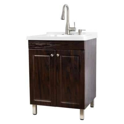 24.5 in. x 21.5 in. x 34 in. Brown Utility Sink Cabinet with Metal Hybrid Stainless Steel Faucet and Soap Dispenser