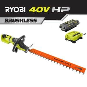 26 in. HP 40V Brushless Lithium-Ion Cordless Battery Hedge Trimmer - 2.0 Ah Battery and Charger Included