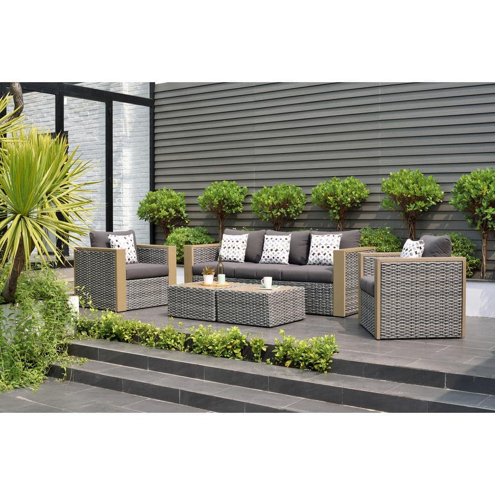 Atlantic Contemporary Lifestyle Mustang 5 Piece All Weather Wicker Patio Conversation Set With Grey Color Cushions Pli Mustang 5 The Home Depot