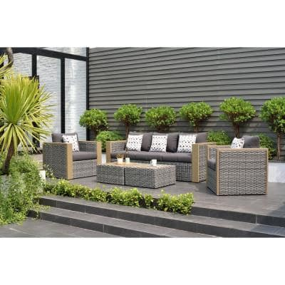 Mustang 5-Piece All-Weather Wicker Patio Conversation Set with Grey Color Cushions