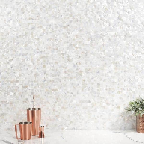 https www homedepot com p ivy hill tile luxe core square white 11 81 in x 11 81 in mother of pearl peel and stick tile 0 96 sq ft sheet ext3rd106137 315472516