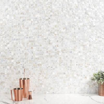 Luxe Core Square White 11.81 in. x 11.81 in. Mother of Pearl Peel and Stick Tile (0.96 Sq. Ft. / Sheet)