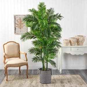 6 ft. Green Curvy Parlor Artificial Palm Tree in Handmade Black and White Natural Jute and Cotton Planter
