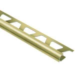 Rondec Brushed Brass Anodized Aluminum 3/8 in. x 8 ft. 2-1/2 in. Metal Bullnose Tile Edging Trim