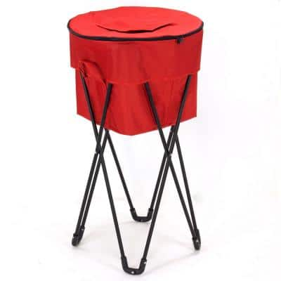 Thermal Standing 52 Qt. Cooler with Travel Bag, Black Powder Coated Steel Legs, Soft-Sided Cooler in Red