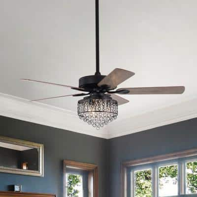 Ella 52 in. Indoor Matte Black Ceiling Fan with Light and Remote Control