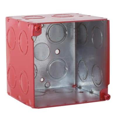 3-3/4 in. Square Welded Box, 3-1/2 Deep with 1/2 and 3/4 in. Concentric KO's - Life Safety Red (25-Pack)