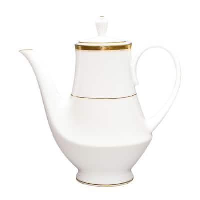 Charlotta Gold/White Porcelain Coffee Server 49 oz.
