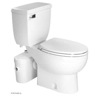 SaniAccess2 2-Piece 1.28 GPF Single Flush Round Toilet with 0.5 HP Macerating Pump in White