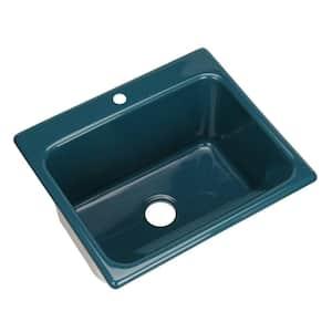 Kensington Drop-In Acrylic 25 in. 1-Hole Single Bowl Utility Sink in Teal