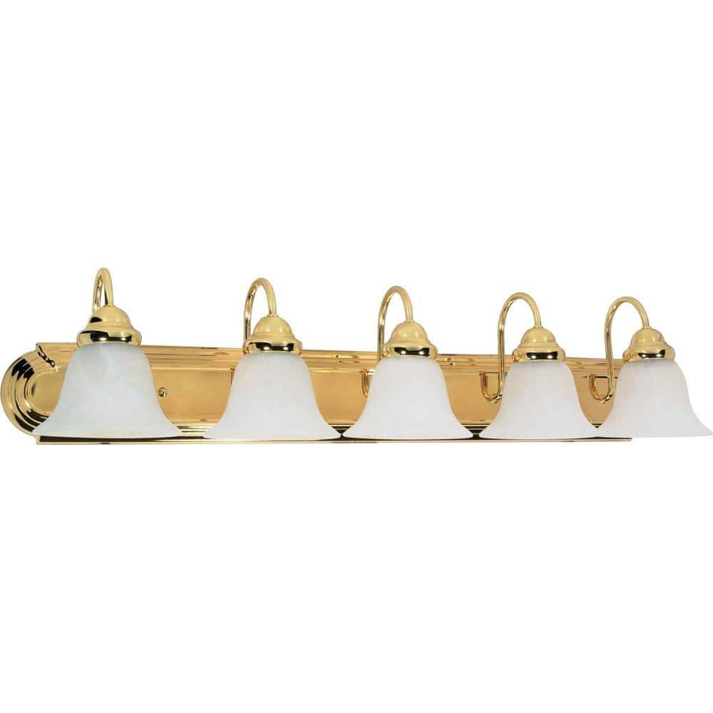Glomar Sophrosyne 5 Light Polished Brass Bath Vanity Light With Alabaster Glass Hd 331 The Home Depot
