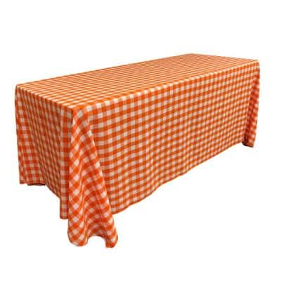 """""""90 in. x 132 in. White and Orange Polyester Gingham Checkered Rectangular Tablecloth"""""""