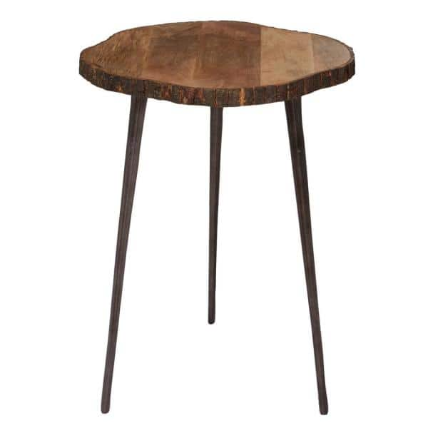 Litton Lane Litton Lane 21 In Brown Mango Wood Rustic Accent Table 80794 The Home Depot