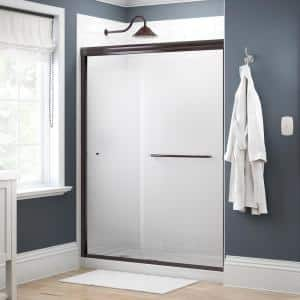 Simplicity 60 in. x 70 in. Semi-Frameless Traditional Sliding Shower Door in Bronze with Droplet Glass