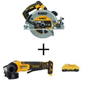 20-Volt MAX XR Cordless Brushless 7-1/4 in. Circular Saw with 4-1/2 in. Grinder & (1) 20-Volt Battery 4.0Ah