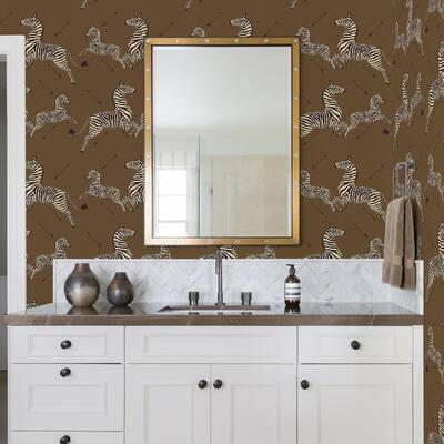 Safari Brown Zebra Safari Self Adhesive Wallpaper Sample