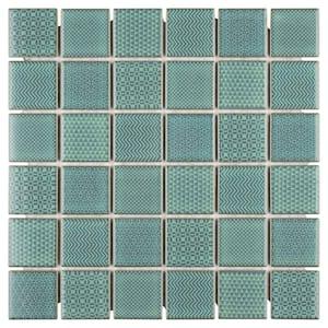 Celadon Emerald 11-5/8 in. x 11-5/8 in. x 6mm Porcelain Mosaic Tile (9.59 sq. ft. / case)